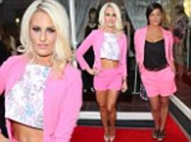 danielle armstrong wears pink short suit to danni boutique opening in essex